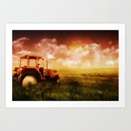 Tractor Oil Painting  Art Print