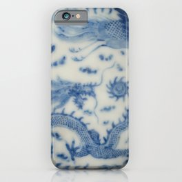 Damask vintage Monaco blue white girly ginger jar floral antique chinese dragon chinoiserie china iPhone Case