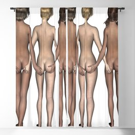 Cheeky Girls Holding Bottoms Blackout Curtain