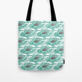 Mama + Baby Gray Whale in Ocean Clouds Tote Bag