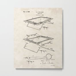 Trampoline Vintage Patent Hand Drawing Metal Print