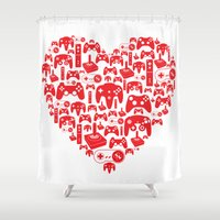 gaming Shower Curtains featuring Gaming Love by Tombst0ne