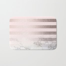Rose Gold Pink Stripes and Marble Design Bath Mat