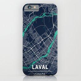 Laval Blue Dark Color City Map iPhone Case