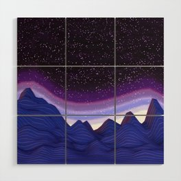 Mountains in Space Wood Wall Art