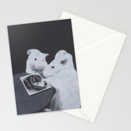 Charcoal Drawing of Rats Mice Performing a Seance with Ouija Board Stationery Cards