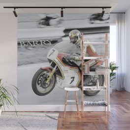 Barry Sheene 2, the hand tinted version Wall Mural