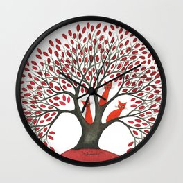 Red Oak Whimsical Cats in Tree Wall Clock
