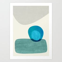 Stacking Pebbles Blue Art Print