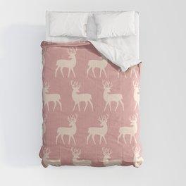Mid Century Modern Deer Pattern Dusty Rose Comforters