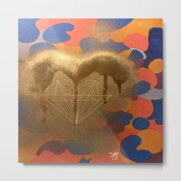 Golden Heart Collage - Spray Paint on Marker Metal Print