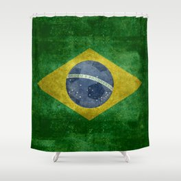 Flag of Brazil with football (soccer ball) retro style Shower Curtain