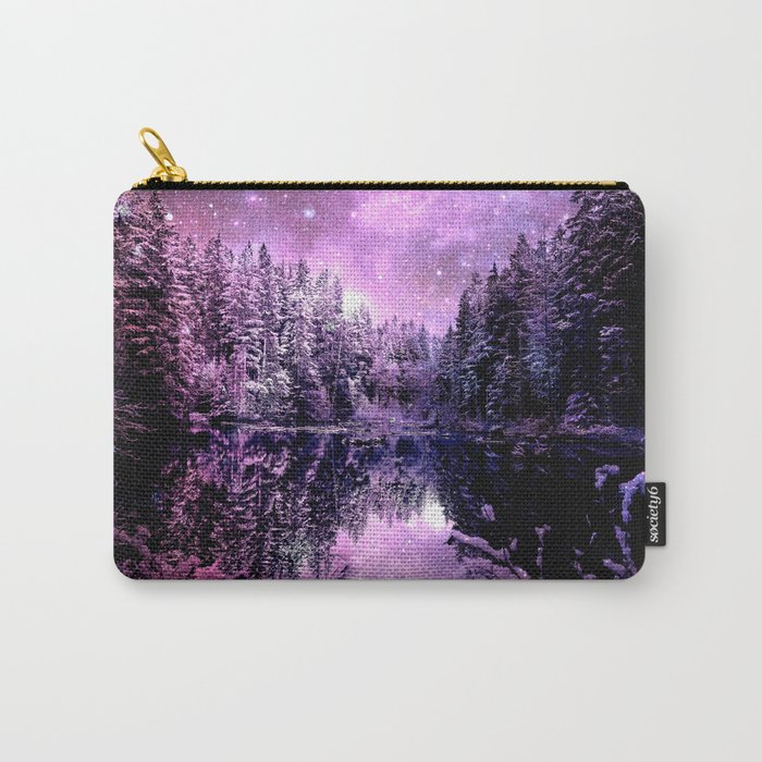 A Cold Winter's Night : Purple Lavender Winter Wonderland Carry-All Pouch