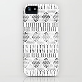 Aztec I Pattern Black and White iPhone Case