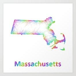 Rainbow Massachusetts map Art Print