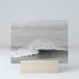 Seaham waves black and white Mini Art Print