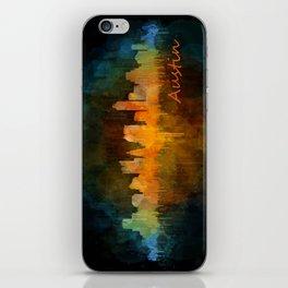 Austin Texas, City Skyline, watercolor  Cityscape Hq v4 Dark iPhone Skin
