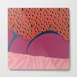 Lounging // Woman, Feminine, Pink, Orange, Teal, Pattern Metal Print