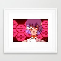 evangelion Framed Art Prints featuring Evangelion: Rei Ayanami by Kelly Kao