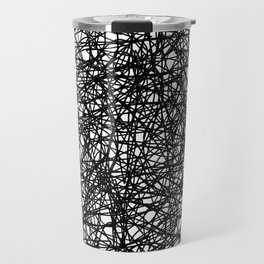 Angry Scribbles - Black and white, abstract, black ink scribbles pattern Travel Mug