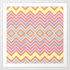 Aztec Tribal Chevron Art Print
