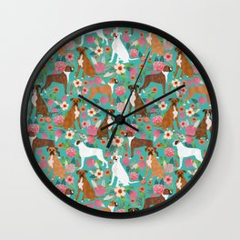 Boxer dog breed florals flower dog pattern gifts for pure breed lovers boxers Wall Clock