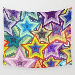 Abstract Colorful Stars Wall Tapestry