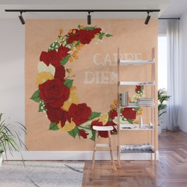 Crescent Bloom | Red roses and oranges Wall Mural
