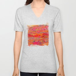Firewalk Abstract Art Collage Unisex V-Neck