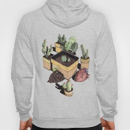 cactus, tropical leaves and heart Hoody