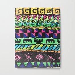 90's Neon Surf Stripes 1 Metal Print