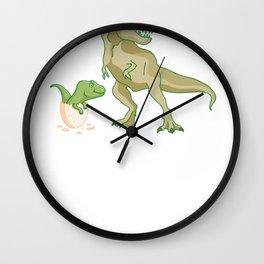 Funny Daddysaurus Rex Shirt Father's Day Gift Idea Wall Clock