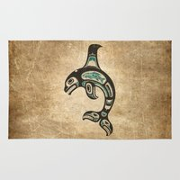 killer whale Area & Throw Rugs featuring Blue and Black Haida Spirit Killer Whale by Jeff Bartels