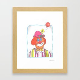 Clown with Balloon Framed Art Print