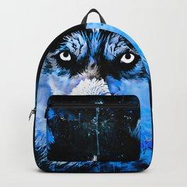 husky dog face splatter watercolor blue Backpack
