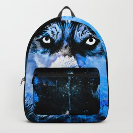 husky dog face splatter watercolor blue Backpack