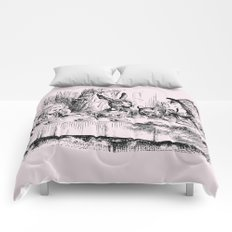 Blush pink - mad hatter's tea party Comforters