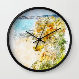 Aquarelle sketch art. A view from top to the Praia da Rocha, Algarve region, Portugal Wall Clock