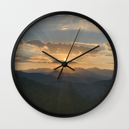 Sunset Colorado Rocky Mountains Wall Clock