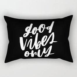 Good Vibes Only Black Rectangular Pillow