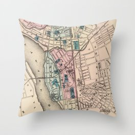 Vintage Map of Trenton NJ (1872) Throw Pillow
