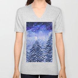 pine forest under galaxy Unisex V-Neck