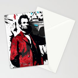 ABRAHAM LINCOLN INK SPLASH RED MAKE MUSIC NOT WAR Stationery Cards