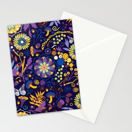Ripe autumn – purple and yellow Stationery Cards