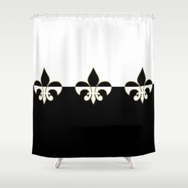 Nola ....Black, white  and gold Shower Curtain