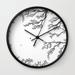 tree branches with birds and leaves on a light background Wall Clock