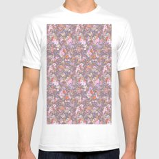 painted floral White Mens Fitted Tee MEDIUM