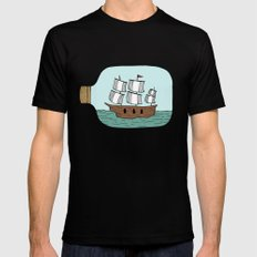 Ship in a Bottle Black MEDIUM Mens Fitted Tee