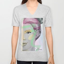 gray woman and colors Unisex V-Neck