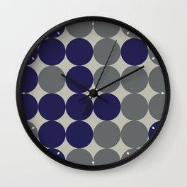 Dots bricks in deep blue and gray Wall Clock